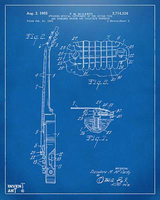 1955 Mccarty Gibson Les Paul Guitar Patent Artwork 2 Blueprint Art Print by Nikki Marie Smith