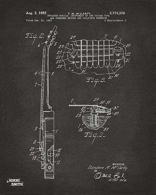 Digital Art - 1955 Mccarty Gibson Les Paul Guitar Patent Artwork 2 - Gray by Nikki Marie Smith