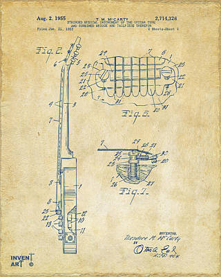 Digital Art - 1955 Mccarty Gibson Les Paul Guitar Patent Artwork 2 Vintage by Nikki Marie Smith