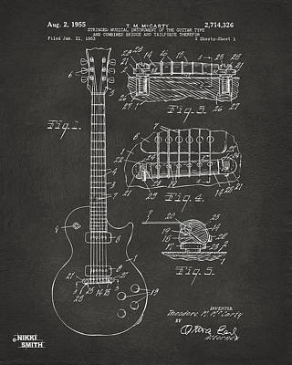 Musician Drawing - 1955 Mccarty Gibson Les Paul Guitar Patent Artwork - Gray by Nikki Marie Smith