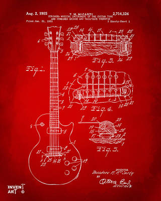 Acoustic Guitar Drawing - 1955 Mccarty Gibson Les Paul Guitar Patent Artwork Red by Nikki Marie Smith