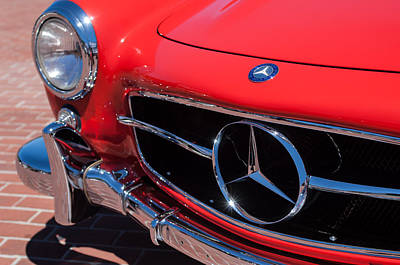 Car Photograph - 1955 Mercedes-benz 300sl Gullwing Grille Emblems by Jill Reger