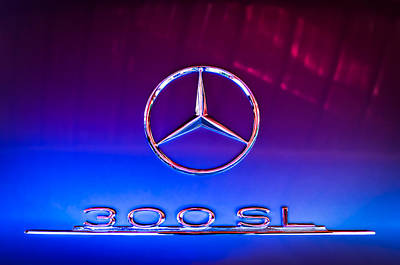 Mercedes Benz 300 Sl Classic Car Photograph - 1955 Mercedes-benz Gullwing 300 Sl Emblem by Jill Reger