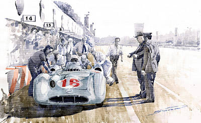 Retro Painting - 1955 Mercedes Benz W 196 Str Stirling Moss Italian Gp Monza by Yuriy Shevchuk