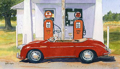 Old Gas Station Painting - 1955 Porsche Speedster by Heidi Gallo