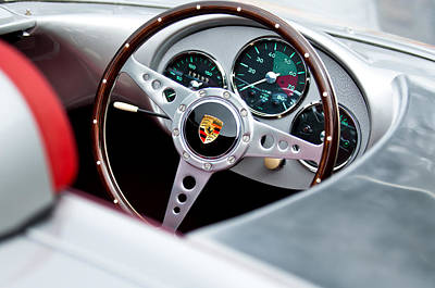 Steering Photograph - 1955 Porsche Spyder Replica Steering Wheel Emblem by Jill Reger