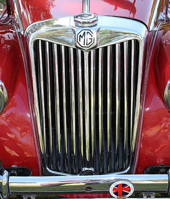 1955 Red Mg Grille Art Print by Mark Steven Burhart