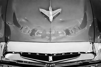 Conestoga Wagon Photograph - 1955 Studebaker Champion Conestoga Custom Wagon Hood Ornament - Grille Emblem -0325bw by Jill Reger