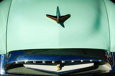 Photograph - 1955 Studebaker Commander Sedan Grille Emblem - Hood Ornament -0578c by Jill Reger