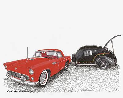 Painting - 1955 Thunderbird And Kit Teardrop by Jack Pumphrey