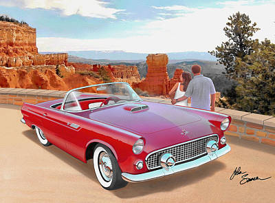 Cougar Digital Art - 1955 Thunderbird At  Bryce Canyon  Classic Ford Art Sketch Rendering Art Sketch Rendering            by John Samsen
