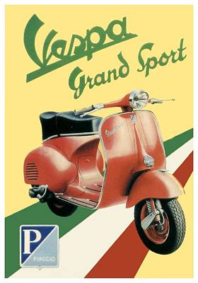 Digital Art - 1955 - Vespa Grand Sport Motor Scooter Advertisement - Color by John Madison