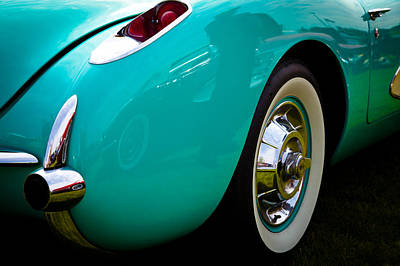 1956 Baby Blue Chevy Corvette Art Print by David Patterson