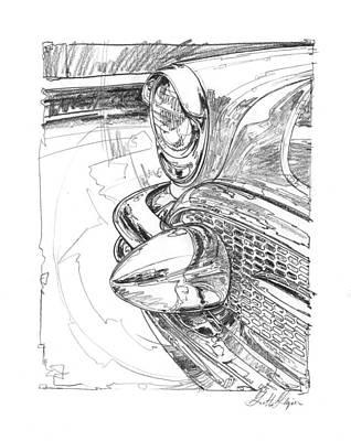 Impressionism Drawings - 1956 Buick Roadmaster Study by Garth Glazier