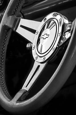 Wagon Photograph - 1956 Chevrolet 210 2-door Handyman Wagon Steering Wheel Emblem -133bw by Jill Reger
