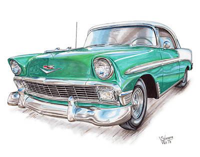 Chevy Drawing - 1956 Chevrolet Bel Air by Shannon Watts