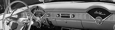 V8 Car Photograph - 1956 Chevrolet Belair Convertible Custom V8 Dashboard by Jill Reger