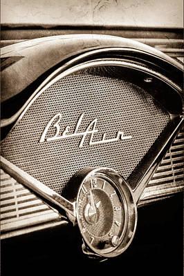 Chevy Bel Air Photograph - 1956 Chevrolet Belair Dashboard Emblem - Clock by Jill Reger