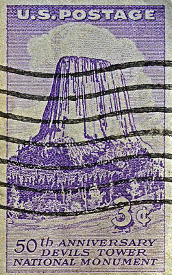 Photograph - 1956 Devils Tower National Monument Stamp by Bill Owen