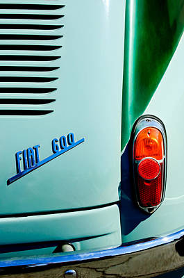 Photograph - 1956 Fiat 600 Taillight Emblem by Jill Reger