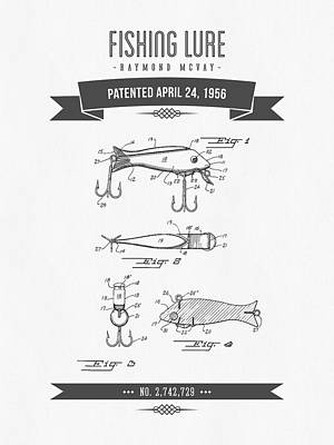 1956 Fishing Lure Patent Drawing Art Print by Aged Pixel