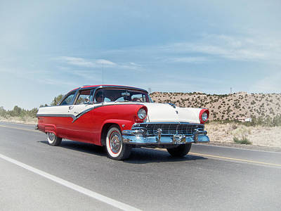 Photograph - 1956 Ford Crown Victoria Cruising The New Mexico Desert by Mary Lee Dereske
