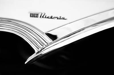 1956 Ford Crown Victoria Glass Top Emblem -3168bw Art Print by Jill Reger