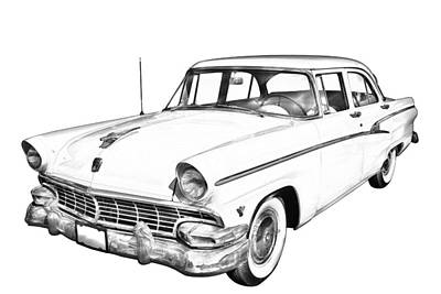 Antique Automobiles Photograph - 1956 Ford Custom Line Antique Car Illustration by Keith Webber Jr
