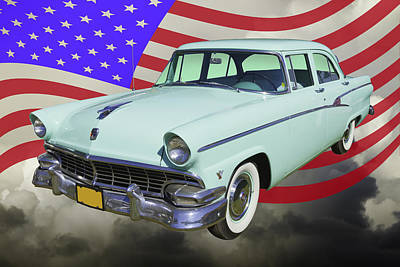 Photograph - 1956 Ford Custom Line Car And Us Flag by Keith Webber Jr