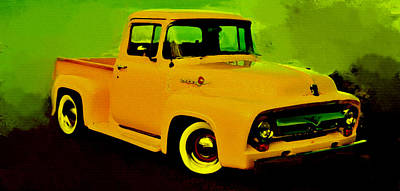 Low Rider Painting - 1956 Ford F-100 by Brian Reaves
