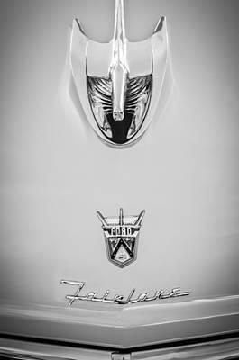 Wagon Photograph - 1956 Ford Parklane Wagon Hood Ornament - Emblem -0347bw by Jill Reger