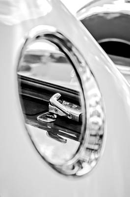 Old Latch Photograph - 1956 Ford Thunderbird Latch -417bw by Jill Reger