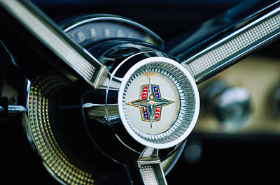 1956 Lincoln Continental Mark II Hess And Eisenhardt Convertible Steering Wheel Emblem Art Print by Jill Reger