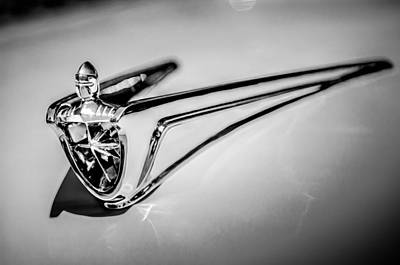 Photograph - 1956 Lincoln Premiere Hood Ornament -1098bw by Jill Reger
