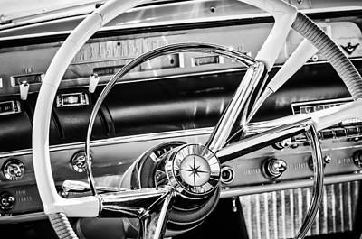 Photograph - 1956 Lincoln Premiere Steering Wheel -0838bw by Jill Reger