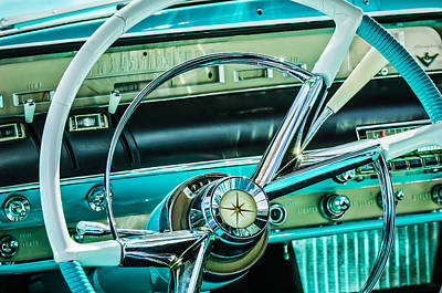 1956 Lincoln Premiere Steering Wheel -0838c Art Print by Jill Reger
