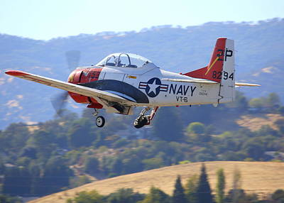 1956 North American T-28b On Climb-out N5440f Art Print