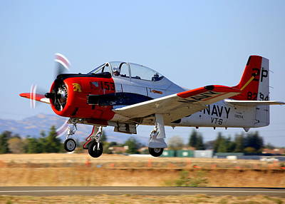 Photograph - 1956 North American T-28b On Take-off N5440f by John King