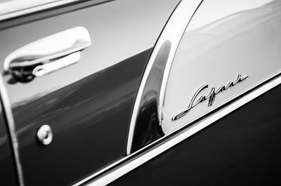 Photograph - 1956 Pontiac Safari Station Wagon Emblem -0545bw by Jill Reger