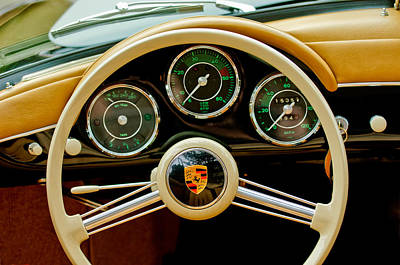 1956 Porsche 356 A Speedster Steering Wheel Emblem Art Print by Jill Reger