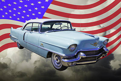 Photograph - 1956 Sedan Deville Cadillac And United States Flag by Keith Webber Jr