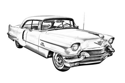 Photograph - 1956 Sedan Deville Cadillac Car Illustration by Keith Webber Jr