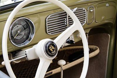 1956 Volkswagen Vw Bug Photograph - 1956 Vw Convertible Steering Wheel by Roger Mullenhour
