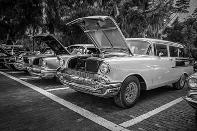 Blue Chevy Photograph - 1957 Chevrolet 210 2 Door Stationwagon Painted Bw    by Rich Franco