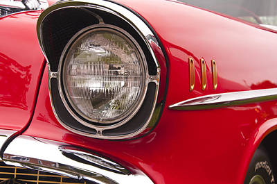 1957 Chevrolet Bel Air Headlight Art Print by Glenn Gordon