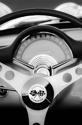 Corvette Photograph - 1957 Chevrolet Corvette Convertible Steering Wheel 2 by Jill Reger
