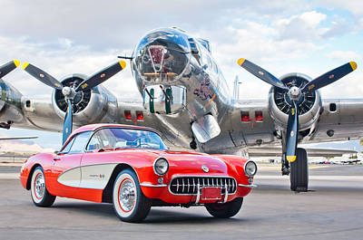 B-17 Photograph - 1957 Chevrolet Corvette by Jill Reger