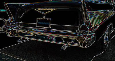 Photograph - 1957 Chevrolet Rear View Art Black_varooom Tag by Lesa Fine