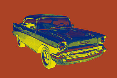 Photograph - 1957 Chevy Bel Air Car Pop Art  by Keith Webber Jr