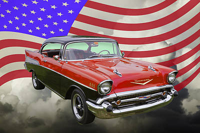 Photograph - 1957 Chevy Belair And American Flag by Keith Webber Jr